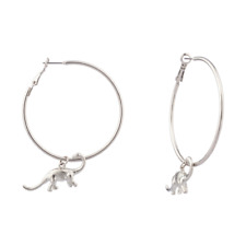 Lux Accessories Dinosaur Brontosaurus Zoo Animal Hoop Earrings.