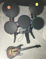 Nintendo Wii Drums And Guitar And Guitar Hero Game Bundle Lot