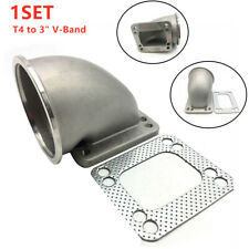 """3""""V-BAND-T4 STAINLESS FLANGE 90 ELBOW TURBO CHARGER EXHAUST CONVERSION ADAPTER"""