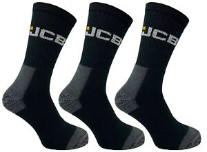 JCB Mens Work Boot Socks Reinforced Heel and Toe UK 6-11, 3, 6, 9 or 12 pairs