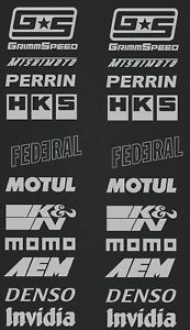 Sponsor decals- GrimmSpeed-Motul-Federal-K&N-Denso-AEM-Momo-HKS - silver SK-175