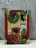 """ACEO Artist Trading Card """"Christmas Party Aftermath"""" Handmade Stickers & Glitter"""