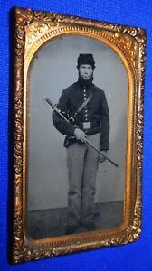 Antique CIVIL WAR IMAGE PVT JOHN SOUTHWICK & SWORD IDENTIFIED