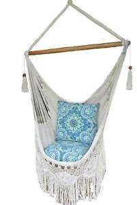 Hammock Chair Handmade Hanging Chair Cream White Crochet Macrame Indoor Outdoor