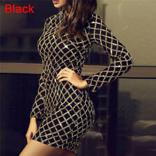 Women's Autumn Winter Dress Long Sleeve Dresses Sequin Party Bodycon Dress0 Black S
