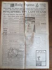 WW2 Wartime Newspaper Daily Express January 12 1942 Singapore The Last Stand
