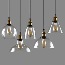 Modern Vintage Industrial Retro Loft Glass Ceiling Lamp Shade Pendant LED Light