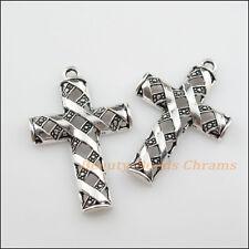 2Pcs Tibetan Silver Tone Hollow Cross Charms Pendants 31x48mm