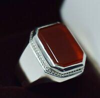 Handmade Akik Carnelian Silver Yemen dark red agate Men Ring \u0639\u0642\u064a\u0642 \u0643\u0628\u062f\u064a \u064a\u0645\u0627\u0646\u064a Aqiq called in Arabic Yemeni Kabdi Aqeeq Stone