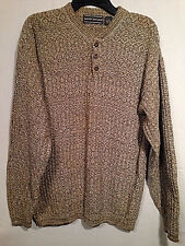 David Taylor Mens Pullover Sweater Variegated Brown Henley Style Sz Lg Made  USA
