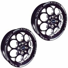 "2x SKINNY BLACK & SILVER 15X3.5"" RACING RIMS WHEELS 4X100 4X114 ET10 86-01 ACURA"