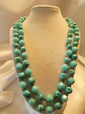 Beautiful Vintage Double-Strand Shades Teal Blue Lucite Goldtone Necklace 15N455