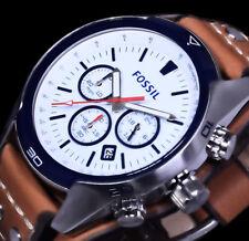 Fossil Herren Uhr Blau Braun Silber Farben Edelstahl Leder 10 Atm Chronograph 2