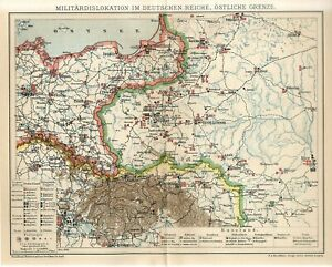 1898 MILITARY DISLOCATIONS GERMANY REICH RUSSIA POLAND UKRAINE BELARUS Map dated