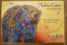 20 NATIVE COLORS Blank Leanin Tree Greeting Cards, Horses, Bear, Buffalo,Wolf