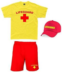 LIFEGUARD Mens Outfit S-2XL Fancy Dress Costume T-Shirt Shorts Cap Pack Set