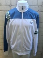 VINTAGE SERGIO TACCHINI Track Top Retro 80's Casual Jacket XS White Blue Green