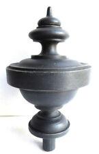Belle boule d'escalier en bois tourné, noirci, forme toupie