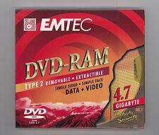 5 Stück DVD-RAM 4.7 GB 120min Cartridge Type 2 * EMTEC * NEU * orig. versiegelt