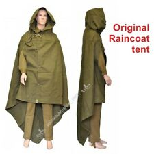 Vintage Cloak Tent Russian soviet USSR army soldier poncho hooded raincoat