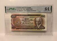 PMG Graded EPQ64 — 1975 Canada $100 Hundered Dollar Banknote