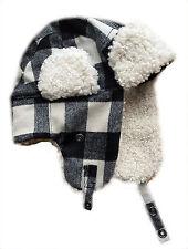 GAP Mens Hat Shearling Aviator Wool Blend Check BLACK Faux Fur  S M Men Tartan