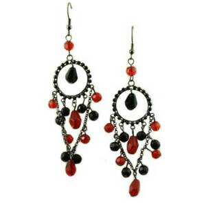 Red and Black Beaded Dangle Pierced Earring - REC845