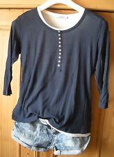 Public 2 Lagen Top Long Shirt Bluse M L 40  leger marine weiß 3/4 Arm BLOGGER