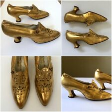 Antique Arnold Constable & Co 1900s Victorian Edwardian Gold Beaded Shoes vtg