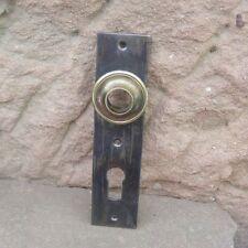 antiker Tür Beschlag Türblende 140x30,5mm Eisen mit Messing Rosette