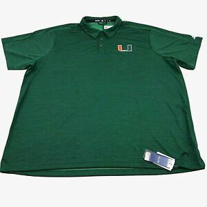 Adidas Miami Hurricanes Men's Size 4XL XXXXL Game Mode Polo Shirt EC2789 Green