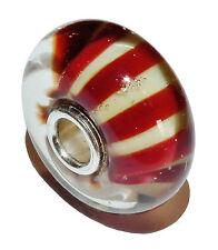 PreOwned Genuine TROLLBEADS Silver & Murano Glass 'Chocolate Stripe' Bead -61439