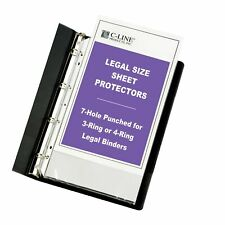 Heavyweight Polypropylene Sheet Protector Legal Clear 7 Hole Punched For 3