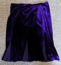 Women's Purple Velvet Skirt Plus Size Pleated Base Contrast Inserts SIZE 22