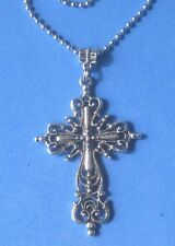 "CROSS Filigree Necklace Large silver alloy 24"" Stainless Steel Chain"