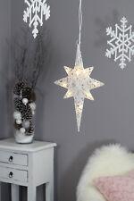 Stern inkl. LED Rattan Deko Weihnachten Weihnachtsdeko Lichterkette Weiß 27x40cm