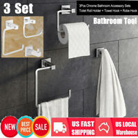 3Pcs  Bathroom Hardware Accessories Set Roll Holder,Robe Hook,Towel Hanger Rack