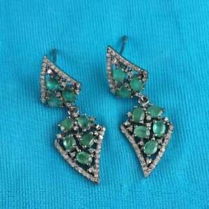 Drop/Dangle Victorian Earring Emerald & Pave Diamond 925 Sterling Silver Jewelry