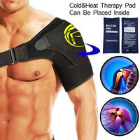 Adjustable Shoulder Brace Support Strap Rotator Cuff For Cold/Heat Pack Therapy