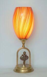 """Romantic Art Nouveau Table Lamp """" Golden Angel """" Messiglampe"""