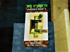"""NEW"" Minecraft ~ CREEPER BEACH / Bath TOWEL ~ 28 x 58 100% Cotton NWT"