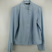 Lisa Rinna Zip Front Textured Bomber Jacket Chambray XXS    A287387