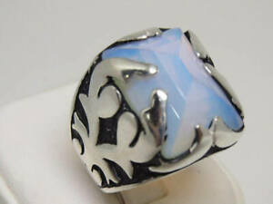 Opalite Gemstone Solid 925 Sterling Silver Statement Boys Mens Ring Jewelry