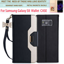 Galaxy S8 Plus Case,PU Leather Wallet Phone Case Makeup Mirror and Hand Strap