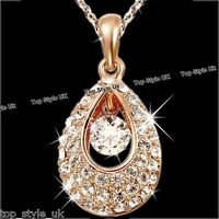CHRISTMAS GIFTS FOR HER - Rose Gold Tear Crystal Necklace Women Girls Mother K8