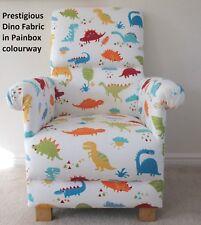 Prestigious Dinosaur Fabric Adult Chair Dino Paintbox Nursery Armchair Blue