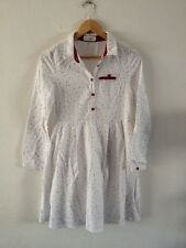 M Chinese Label Brushed Cotton Dress Size M White/Burgundy <R12463