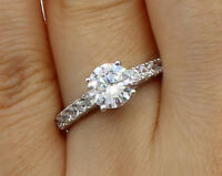 1.50 Ct 14K White Gold Trellis Round Engagement Wedding Propose Promise Ring