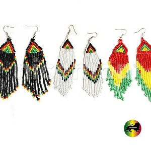 Beaded Earring Jamaica Rasta Rastafari Empress Earrings Reggae Jamaica DANGLE