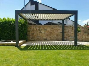 Aluminium Terrassendach mit Lamellen Pergola Sonnenschutz 400cm x 300cm